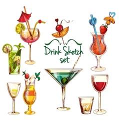 Sketch cocktail set vector