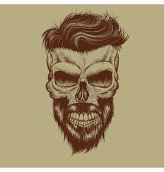 Skull with hairstyle and beard vector
