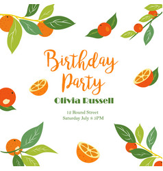 Tropical birthday poster with oranges vector