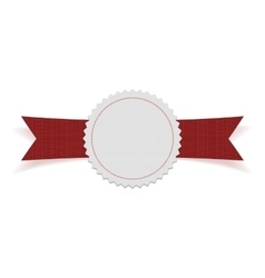 White blank label on red ribbon vector
