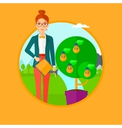 Woman watering tree with light bulbs vector