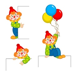 clown peeking behind placard vector image