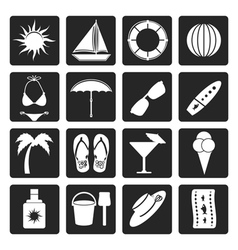 Black summer and holiday icons vector