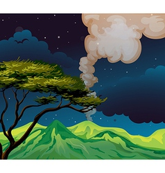 Night volcano landscape vector