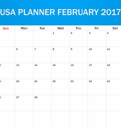 Usa planner blank for february 2017 scheduler vector