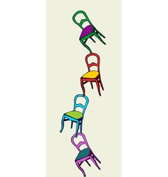 Juggling chairs balance vector