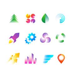 Trendy business logo symbols rainbow color vector