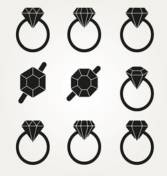 Diamond icon symbol set vector