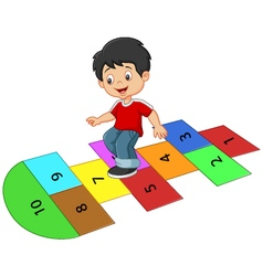 Cartoon boy on the hopscotch vector image