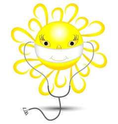 Sun with a bandage vector