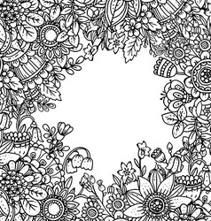 Template with beautiful monochrome floral pattern vector