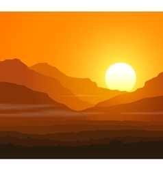 Lifeless landscape with huge mountains at sunset vector