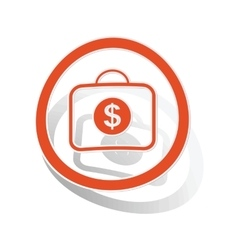 Dollar bag sign sticker orange vector