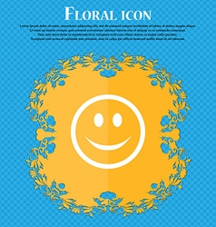 Smile happy face floral flat design on a blue vector
