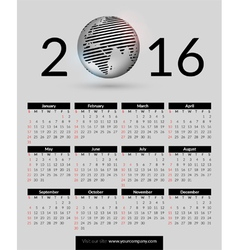 Calendar 2016 with shiny metallic globe vector
