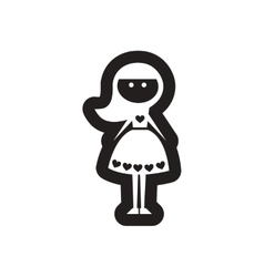 Flat icon in black and white girl vector image