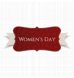 Womens day red realistic paper card with ribbon vector