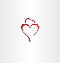 Mother and daughter love heart icon red logo vector