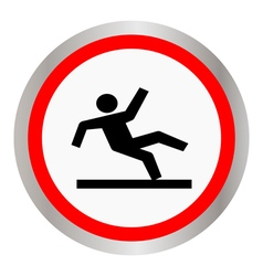 Wet floor warning sign vector