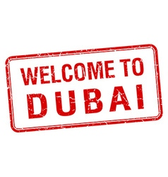 Welcome to dubai red grunge square stamp vector