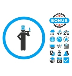 American Capitalist Flat Icon with Bonus vector image vector image