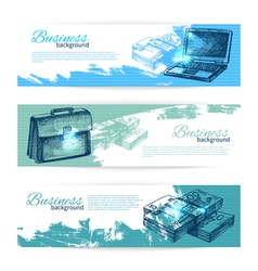 Banner set of hand drawn business backgrounds vector image vector image