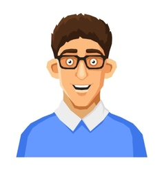 Cartoon Style Portrait of Nerd with Glasses and vector image vector image
