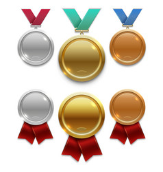 Champion gold silver and bronze award medals with vector