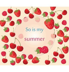 Cherry strawberry and raspberry background vector image vector image