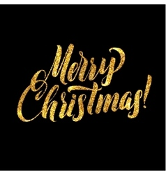 Christmas card Gold sparkles on black background vector image vector image