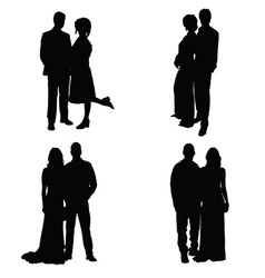 couple set silhouette vector image vector image