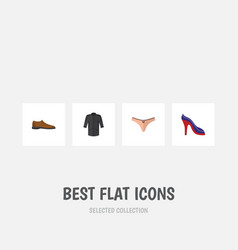 flat icon dress set of male footware uniform vector image