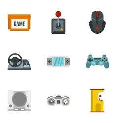 Game icons set flat style vector