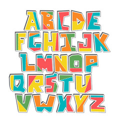Hand lubberly cut colorful alphabet sticker vector