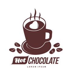 Hot chocolate logo template vector