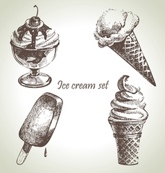 Ice cream set hand drawn vector