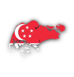 Map and flag of singapore vector