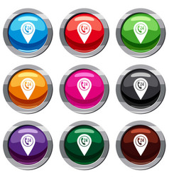 map pointer with phone handset set 9 collection vector image vector image