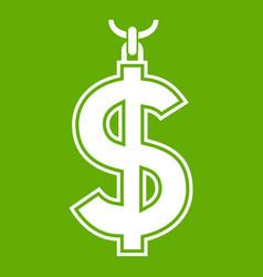 Necklace of dollar symbol icon green vector