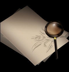 Page of book with pen and magnifier vector