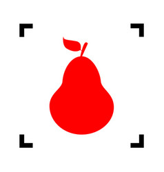 Pear sign red icon inside vector