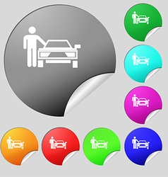 Person up hailing a taxi icon sign set of eight vector