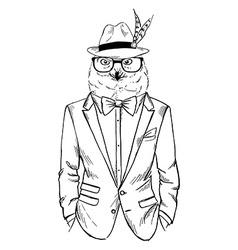 Polar owl dressed up in tuxedo chic style vector image