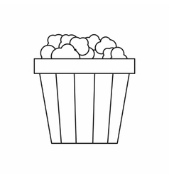 Popcorn in cardboard bucket icon outline style vector image