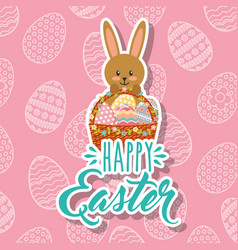 rabbit holding decorative basket with eggs happy vector image