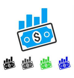 Sales bar chart flat icon vector