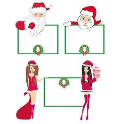 Santa Claus holding a Christmas frame - set vector image vector image