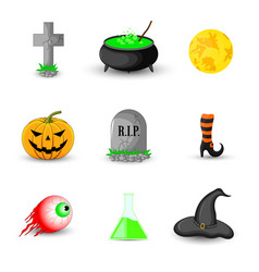 set of halloween objects isolated on white vector image vector image