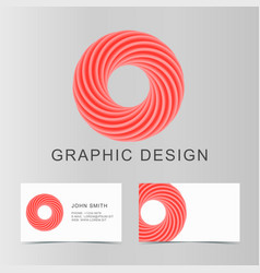 set of red business abstract circle icon and cards vector image