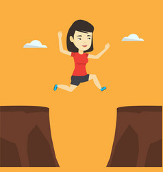 sportswoman jumping over cliff vector image vector image